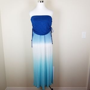 YF&B Strapless Popover Ruched Ombre Maxi Dress